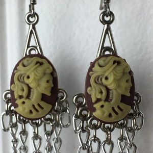 Jewelry - 2 for $10 Skull cameo chain chandelier earrings